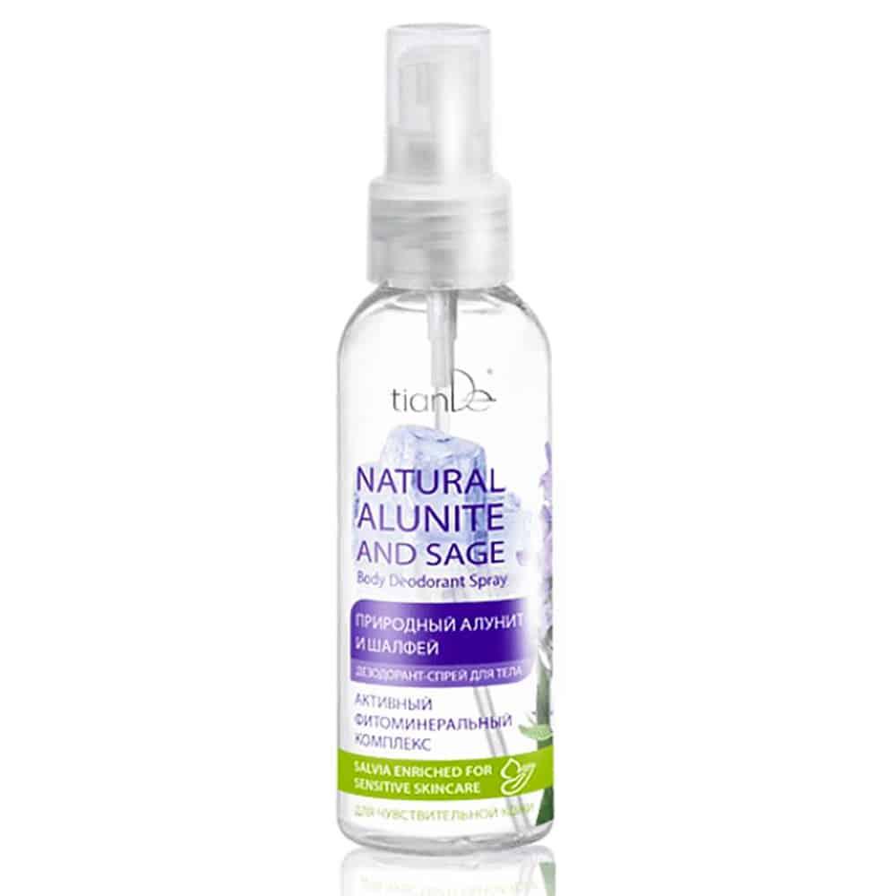Spray 100 ml Deodorizează pielea fără a afecta funcția glandelor sudoripare. . Poate fi aplicat pe tălpile picioarelor și palmelor. Deodorantul pentru pulverizare nu conține săruri de aluminiu, alcool, parabeni sau coloranți. Ingredientul de bază este alunitul, un mineral vulcanic care ucide în mod fals bacteriile. Particulele de alunit opresc transpirația fără a bloca glandele sebacee. Este util de aplicat după epilare și ras deoarece calmează și îngrijește pielea. Usuca erupțiile pe corp și previne iritarea pielii. Extractul de salvie oprește procesele inflamatorii din interiorul pielii și crește tonusul. Are efecte antifungice și oferă un sentiment de curățenie și prospețime. Zincul elimină reacțiile alergice, elimină dermatitele, îmbunătățește nivelul de îngrijire a pielii, Utilizare: Aplicați-l pe pielea curată din jurul axilelor, palmelor și tălpilor.
