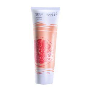 Extractul de grapefruit, care este ingredientul principal al acestui produs, strânge și înmoaie pielea și reduce ridurile. Aroma proaspătă, cu o nuanță picantă amără are efecte revigorante. Are un efect tonic excelent, stimulează circulația și reînnoiește celulele pielii. . Micile cristale de sare de mare elimină blând celulele moarte și sporesc procesele de regenerare. Datorită efectului de peeling ușor, sarea crește circulația sângelui, elimină toxine, tonifică, îmbunătățește elasticitatea pielii și ajută la eliminarea celulitei. Sarea de mare are eficiența maximă în contact cu pielea la 38 de grade.Nu conține conservant și nici agent de spumare. Utilizare: Ca gel de duș: aplicați-o pe pielea umezită cu mișcări de masaj. Clătiți bine cu apă. Ca scrub: o dată la 10 zile se poate folosi pe pielea uscată. Curăță pielea de celulele moarte, hidratând-o și catifelând-o. La baie: se adaugă în apa din cadă, făcând astfel o baie relaxantă. Nu stați în cadă mai mult de 20 minute. Ca masaj anticelulitic: masați zona afectată de 2 ori pe zi cu sarea de corp prin mișcări circulare.