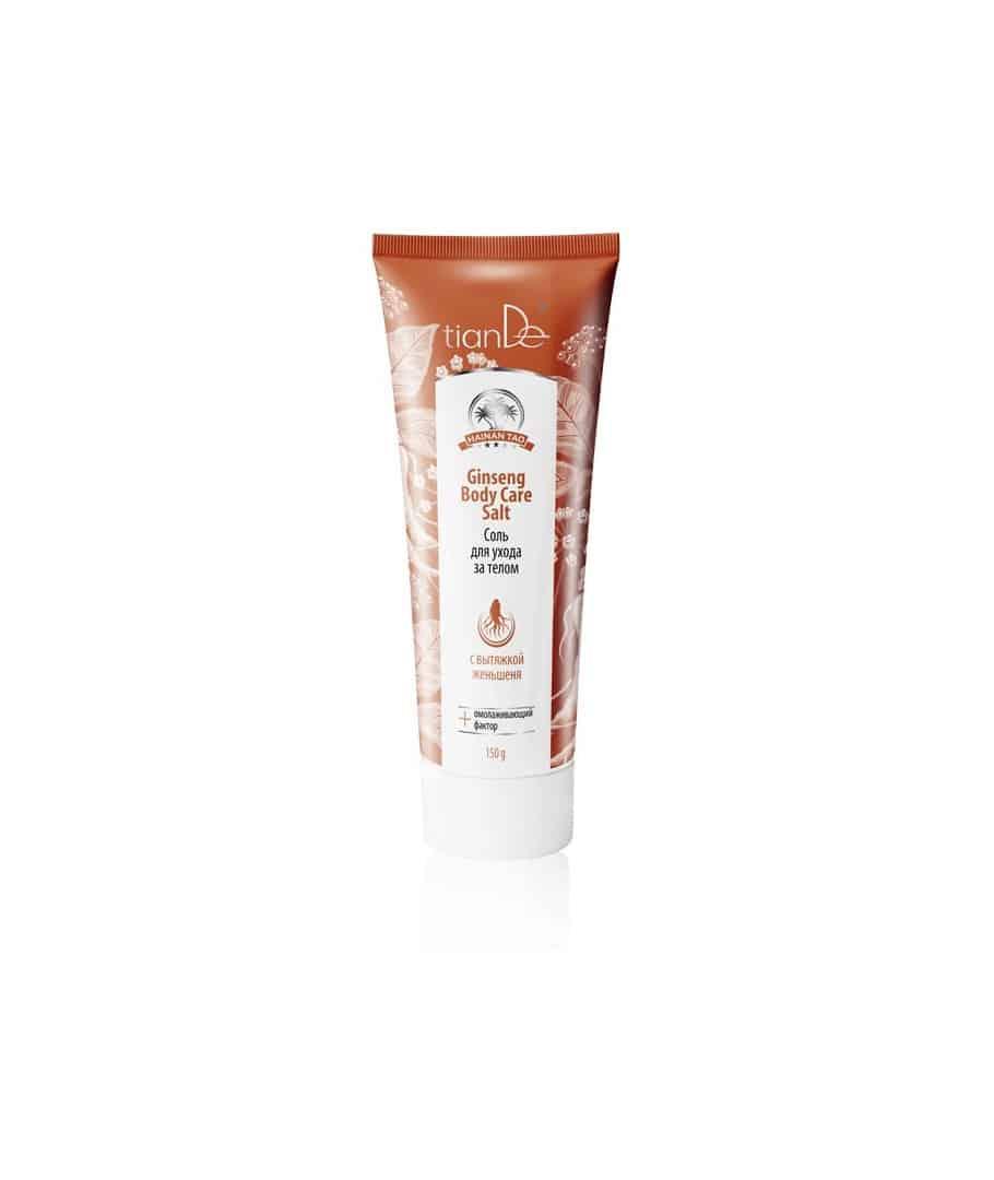 Curăță și exfoliază efectiv pielea, o protejează de efectul negativ al mediului, face netedă. Îndepărtează senzația de disconfort și astringență a pielii, reduce intensitatea culorii regiunilor pigmentate. Sarea de mare curăță pielea, o hrănește cu microelementele necesare, activează metabolismul, mărește tonul și elasticitatea pielii și o face mai catifelată.Sarea conține extract de rădăcină de ginseng de șase ani cu concentrația maximă de substanțe biologic active. Are efect bactericid, regenerant, tonifiant, stimulent pentru circulație. Extractul de rădăcină de ginseng îmbunătățește procesele metabolice din țesuturi, stimulează autoregenerarea celulelor, reduce cantitatea de linii fine și imperfecțiunile pielii, face ridurile adânci mai puțin vizibile, lasă pielea mai fină și suplă, tonifică, înmoaie, o protejează de negativ impactul factorilor externi. Utilizare: Ca gel de duș: aplicați-o pe pielea umezită cu mișcări de masaj. Clătiți bine cu apă. Ca scrub: o dată la 10 zile se poate folosi pe pielea uscată. Curăță pielea de celulele moarte, hidratând-o și catifelând-o. La baie: se adaugă în apa din cadă, făcând astfel o baie relaxantă. Nu stați în cadă mai mult de 20 minute. Ca masaj anticelulitic: masați zona afectată de 2 ori pe zi cu sarea de corp prin mișcări circulare.